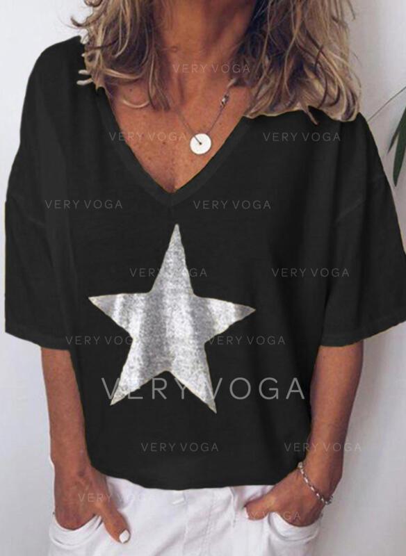 Print V-hals 1/2 ærmer Casual T-shirts