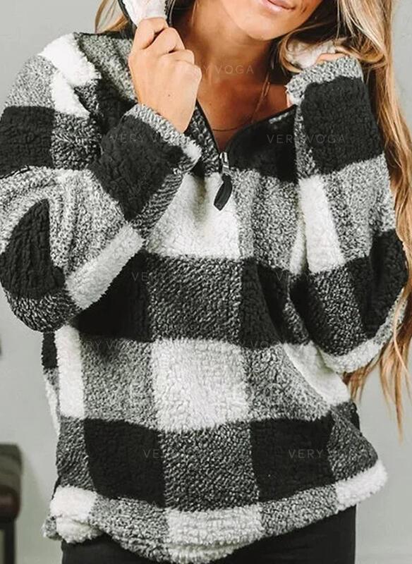 Grid Lapel Lange ærmer Sweatshirts