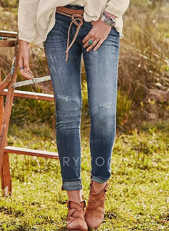твердый джинсы Обрезанные Повседневная Большой размер Pocket разорвал Джинсы