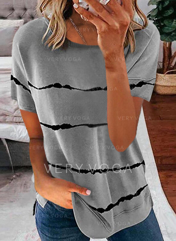 Nadruk Okrągły dekolt Krótkie rękawy T-shirty