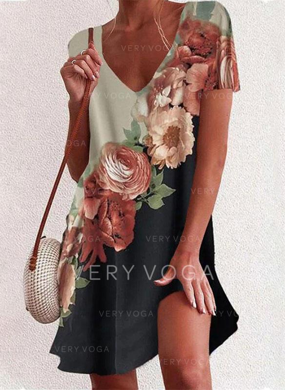 Impresión/Floral/Bloque de color Manga Corta Tendencia Sobre la Rodilla Casual/Vacaciones Túnica Vestidos