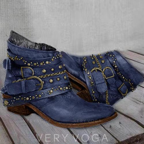 Kvinner PU Stor Hæl Pumps Støvler Ankelstøvler med Spenne sko