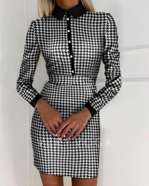 Print Long Sleeves Bodycon Above Knee Casual/Elegant Dresses