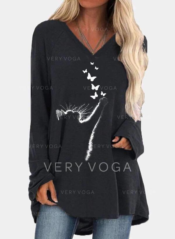 Animal Print V-Neck Long Sleeves Sweatshirt