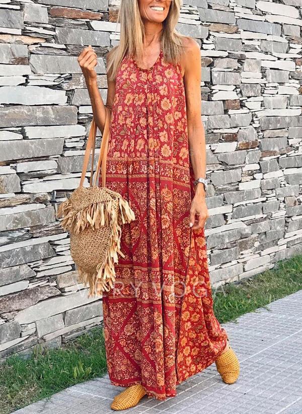 Print/Floral Sleeveless Shift Tank Casual/Boho/Vacation Maxi Dresses