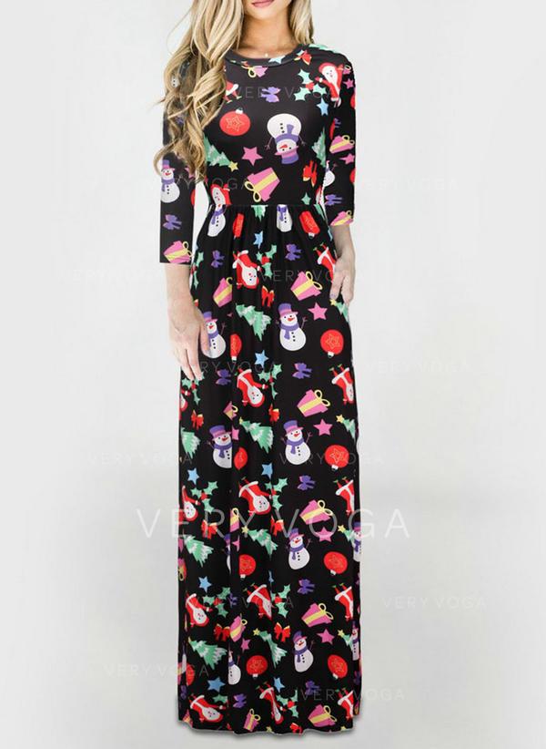 Print 3/4 Sleeves Sheath Maxi Christmas/Casual Dresses