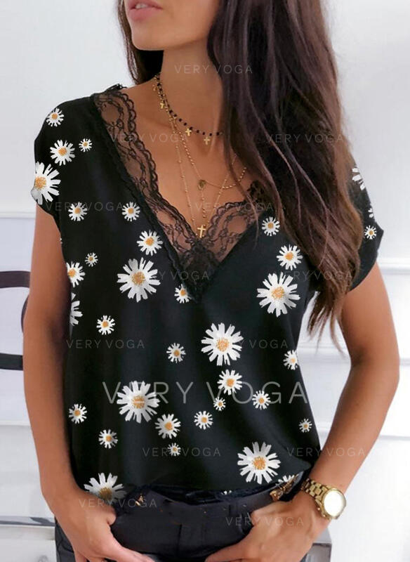 Print Floral Patchwork Lace V-Neck Short Sleeves Casual Blouses