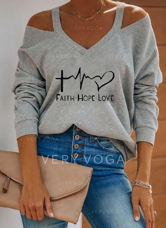 Print Figure Heart Cold Shoulder Long Sleeves Casual Blouses