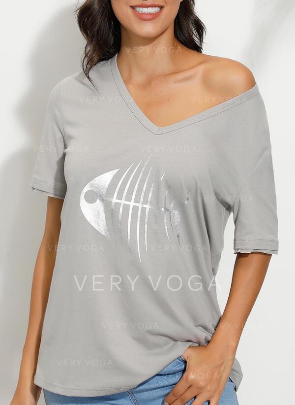 Animal-Print V-Ausschnitt Kurze Ärmel Freizeit T-shirts