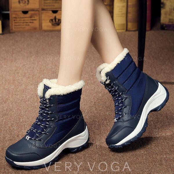 Frauen Leinwand Keil Absatz Stiefel mit Zuschnüren Schuhe