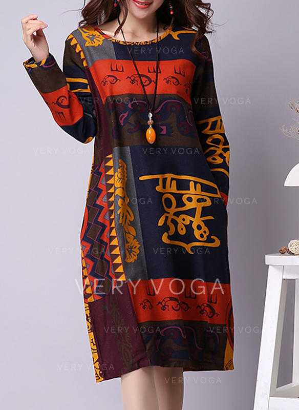 Print/Patchwork Long Sleeves Shift Knee Length Casual/Boho Dresses