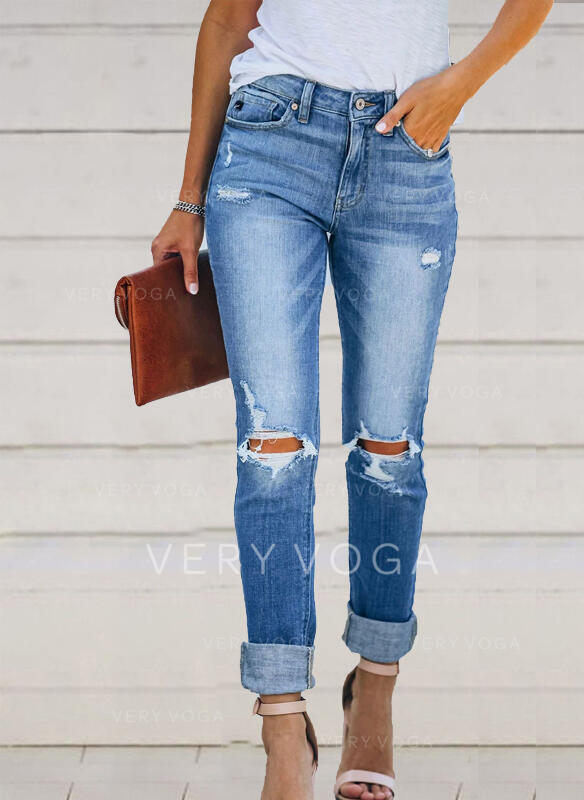 shirred Ripped Lang Elegant Sexet Denim & Jeans