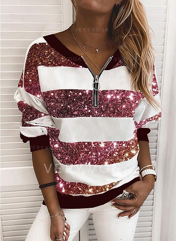 Sequins V-Neck Long Sleeves Sweatshirt