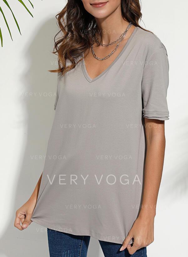 Solide V-hals Korte Mouwen Casual Basic T-shirts