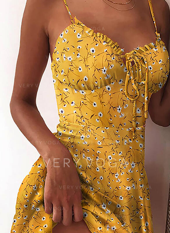 Print/Floral Sleeveless A-line Above Knee Sexy/Vacation Slip Dresses