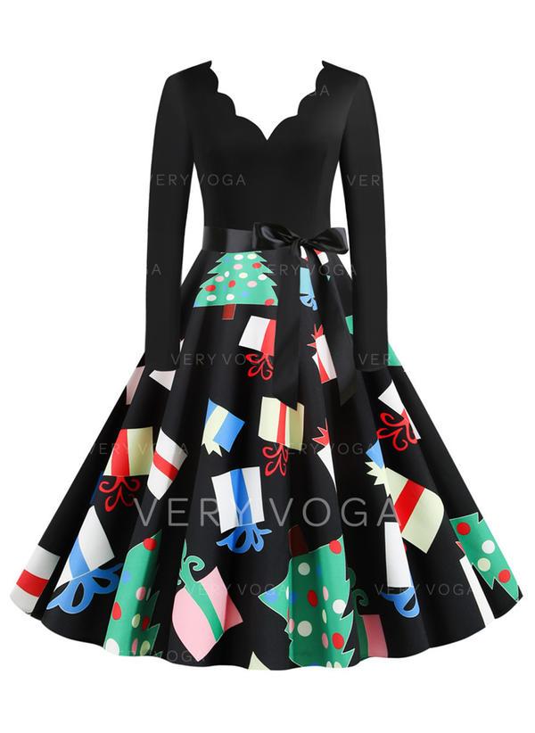 Print Long Sleeves A-line Knee Length Vintage/Christmas/Party/Elegant Skater Dresses
