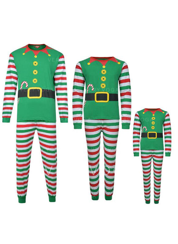Stripe Print Familie matchende Jule Pyjamas