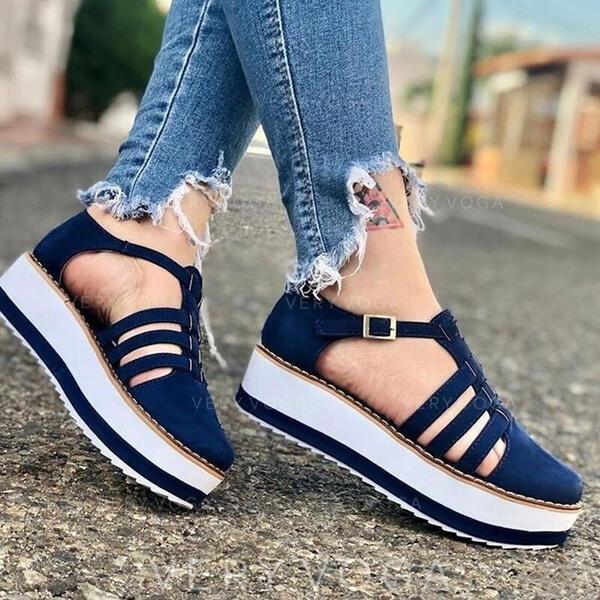 Vrouwen Suede Flat Heel Flats Closed Toe Ronde neus met Gesp schoenen