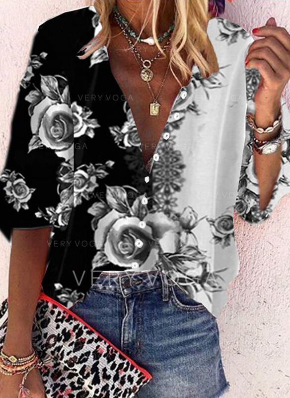 Print Floral V-Neck 3/4 Sleeves Button Up Casual Shirt Blouses (1003311661)