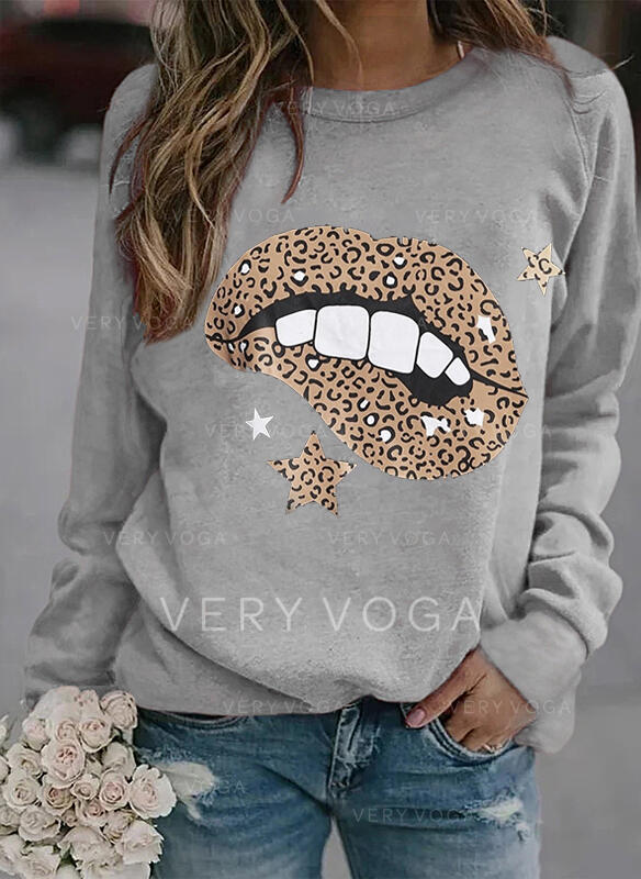 Print Leopard Round Neck Long Sleeves Sweatshirt