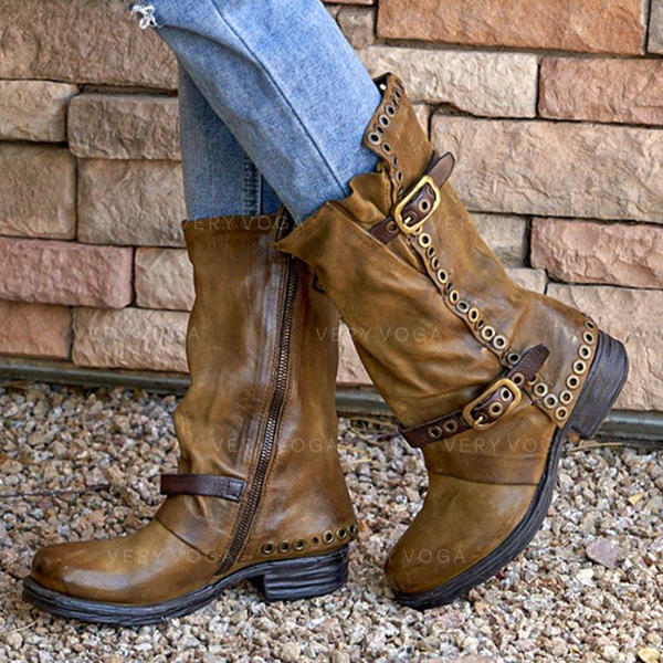 Women's Leatherette Chunky Heel Mid-Calf Boots With Buckle Zipper shoes