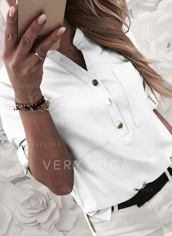 Jednolity Dekolt w kształcie litery V Rękaw 1/2 Zapięcie na guzik Casual Bluzki