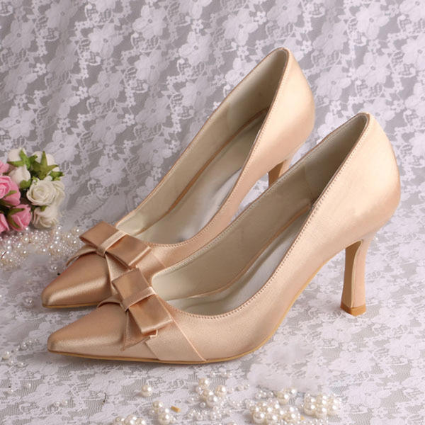 Women's Silk Like Satin Stiletto Heel Pumps With Flower