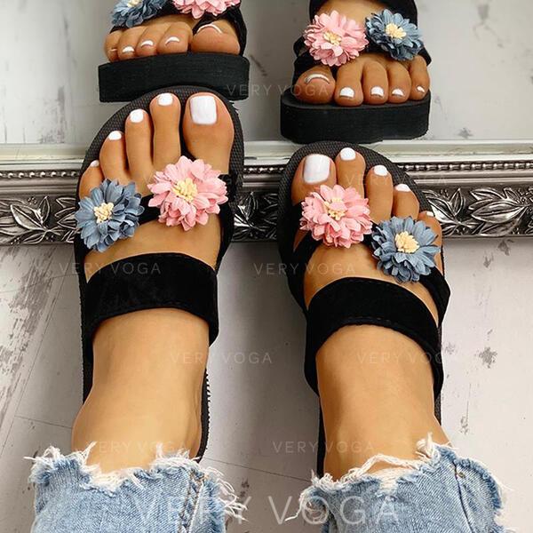 De mujer EVA Tipo de tacón Sandalias Chancletas Pantuflas Anillo del dedo del pie con Flor zapatos