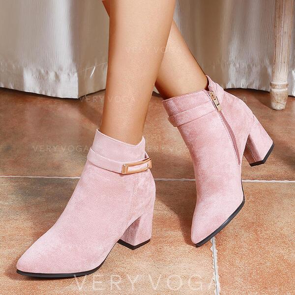 Vrouwen PU Chunky Heel Enkel Laarzen Lage top Puntige teen met Gesp Rits Anderen Effen kleur schoenen