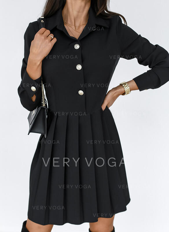 Couleur Unie Manches Longues Trapèze Au-dessus Du Genou Petites Robes Noires/Décontractée Patineuse Robes