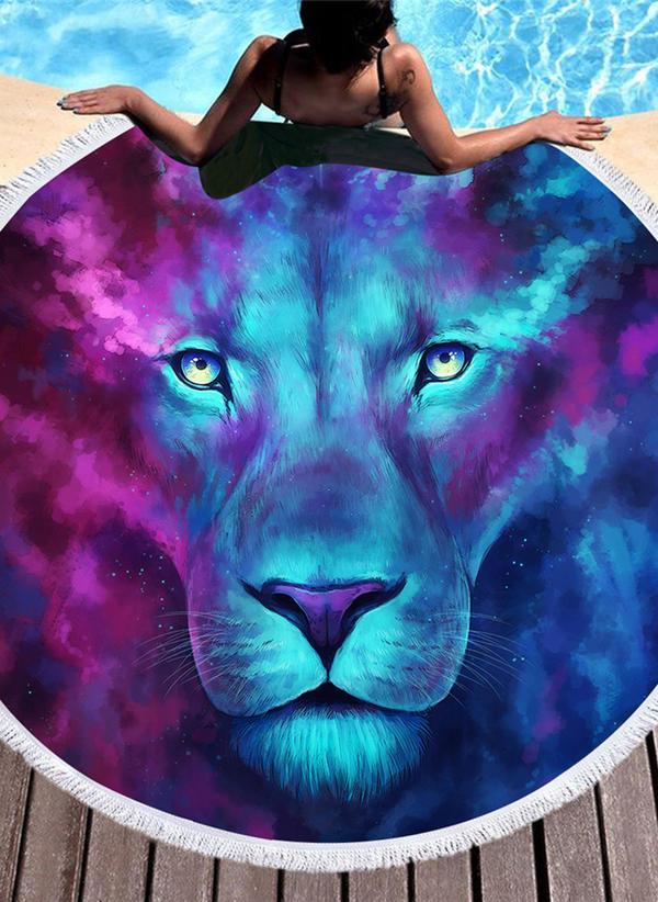 lion Énorme/rond serviette de plage