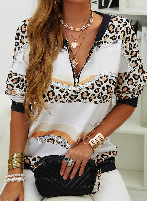 Druck Leopard Pailletten V-Ausschnitt Lange Ärmel Pullover