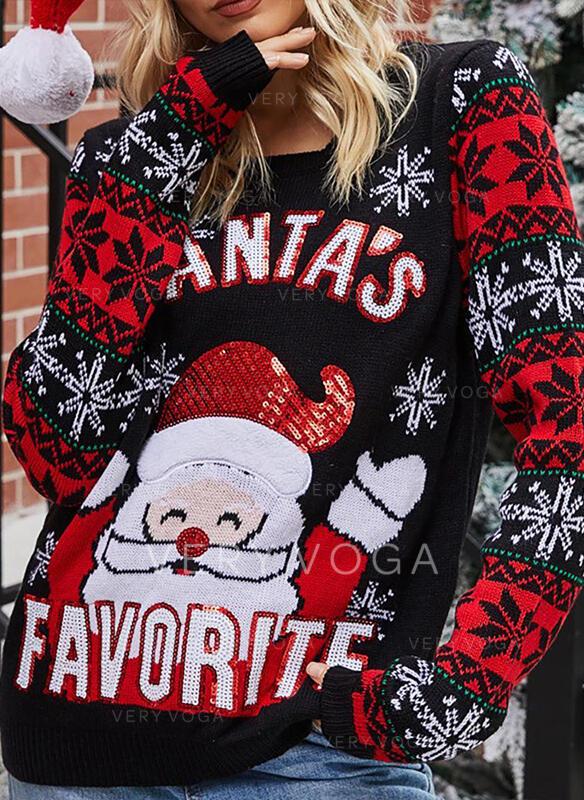 Женский акрил Санта Письмо Гадкий рождественский свитер