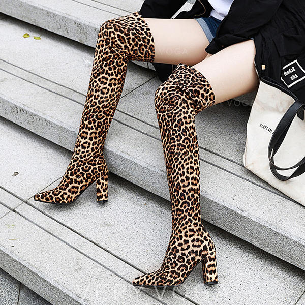 Women's PU Chunky Heel Pumps Boots Over The Knee Boots shoes