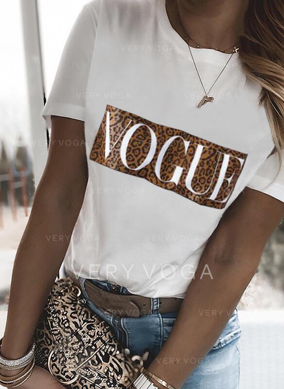 Figura Leopardo Impresión Cuello Redondo Manga Corta Camisetas