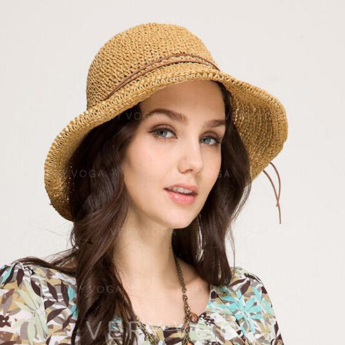 Ladies' Handmade/Hottest Raffia Straw/Polyester With Bowknot Straw Hats/Beach/Sun Hats