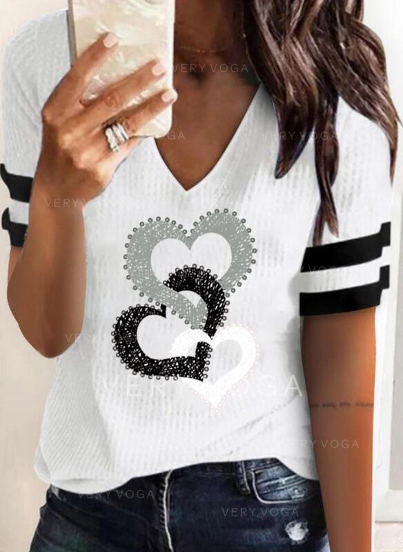 Hjerte Print Stribe V-hals Korte ærmer T-shirts