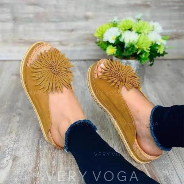 Mulheres PU Sem salto Sandálias Sem salto Peep toe com Flor sapatos