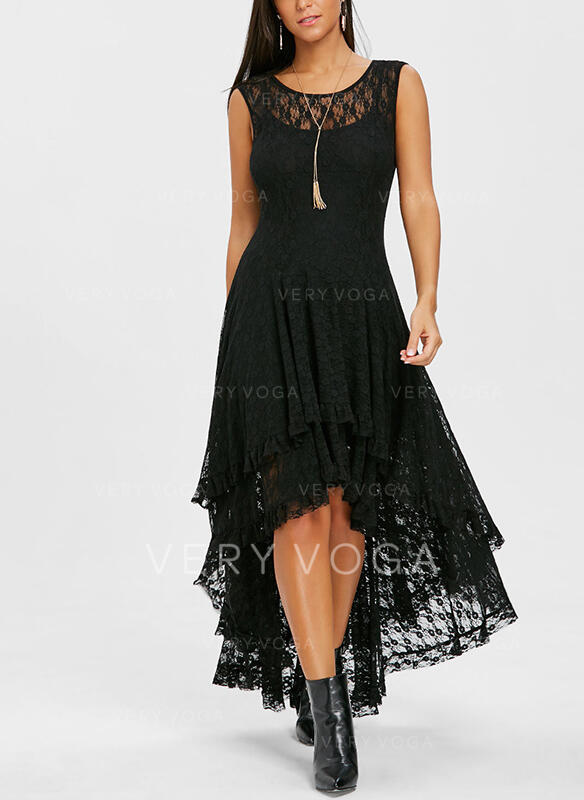 Lace/Solid Sleeveless A-line Asymmetrical Little Black/Party/Elegant Skater Dresses