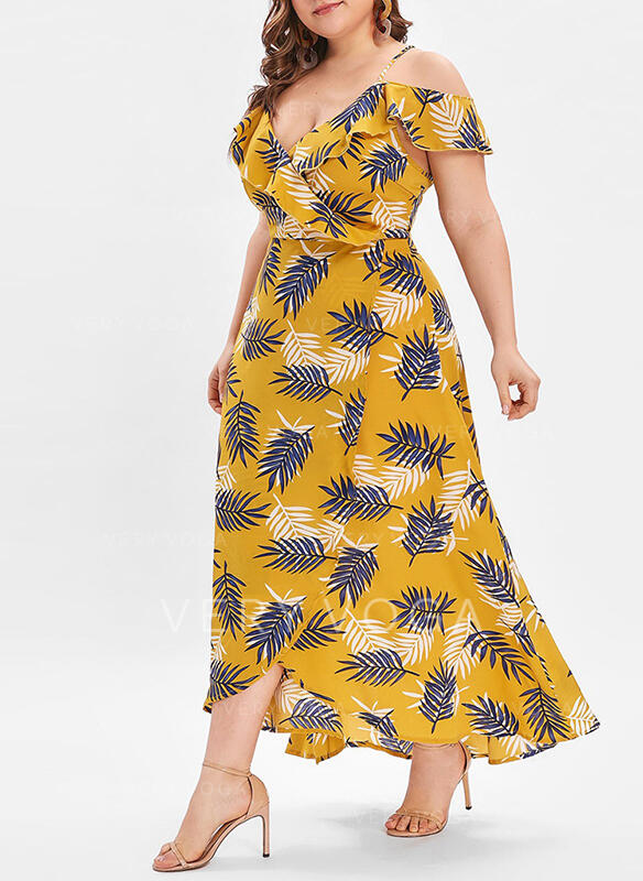 Print Short Sleeves/Cold Shoulder Sleeve A-line Casual/Vacation/Plus Size Midi Dresses