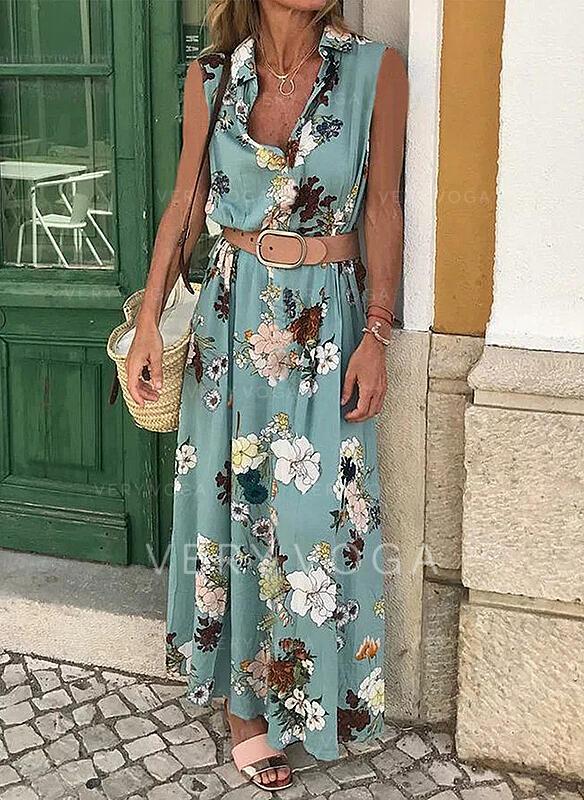 Nadrukowana/Kwiatowy Bez rękawów W kształcie litery A Casual/Wakacyjna Maxi Sukienki