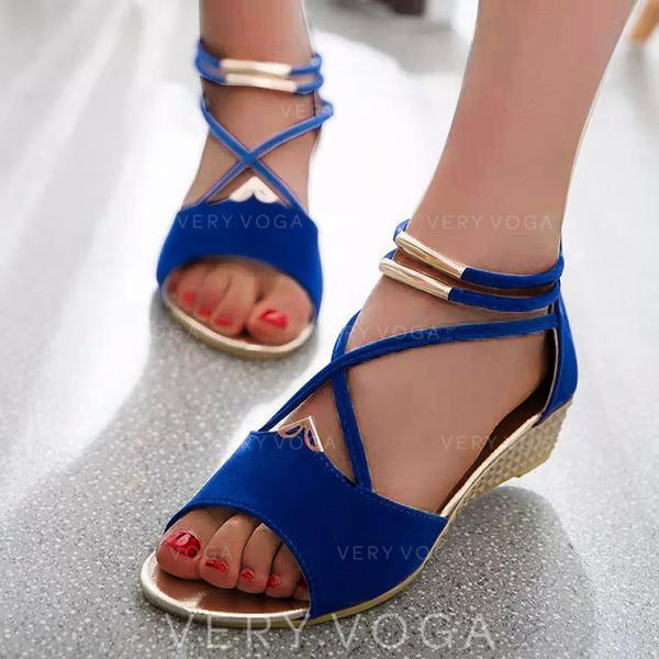 PU Tipo de tacón Sandalias Cuñas Encaje Tacones con Cremallera zapatos