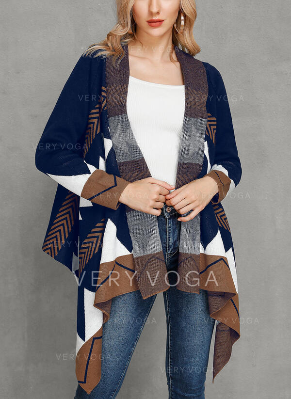 Polyester Long Sleeves Print Chunky knit