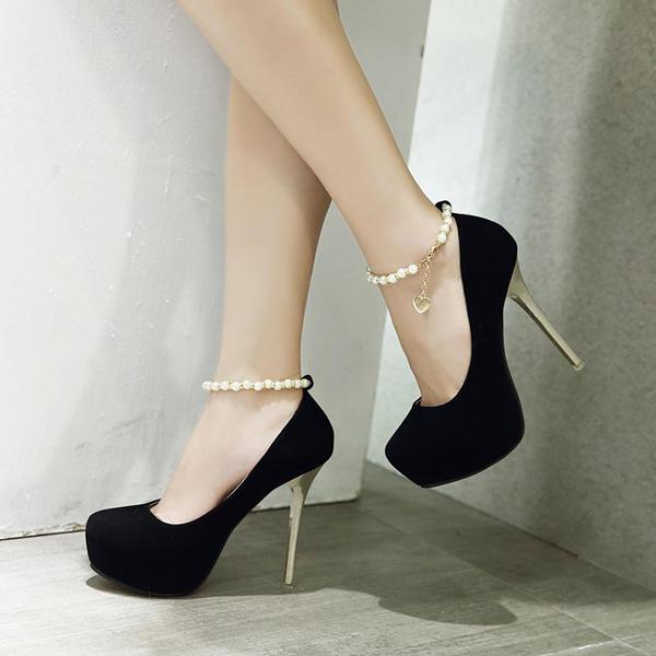 Femmes Suède Talon stiletto Escarpins Plateforme Bout fermé avec Perle d'imitation Chaîne chaussures