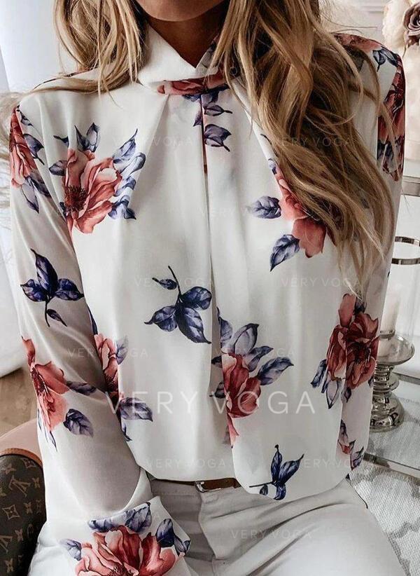 Stampa Floreale Alto collo Maniche lunghe Casuale Elegante Shirt and Blouses