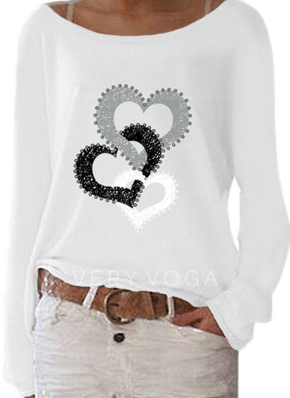 Print Heart Round Neck Long Sleeves Casual Knit T-shirts