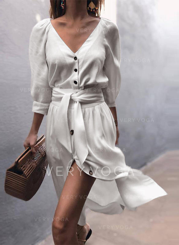 Solid 3/4 Sleeves/Puff Sleeves A-line Skater Casual/Vacation Midi Dresses