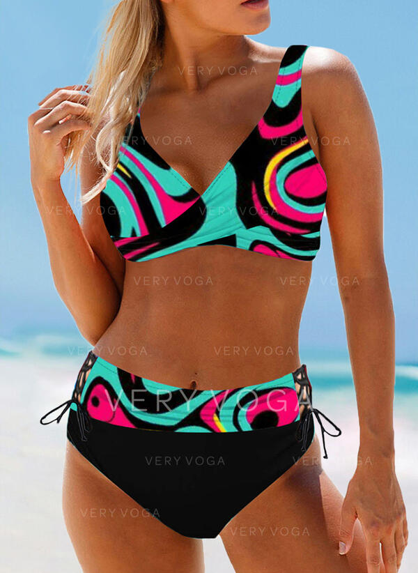High Waist Print Strap V-Neck Boho Bikinis Swimsuits