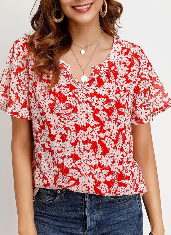 Nadruk Dekolt w kształcie litery V Krótkie rękawy Casual Elegancki T-shirty