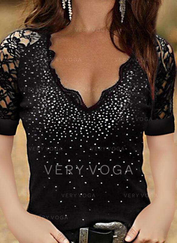 Print Lace V-Neck Short Sleeves T-shirts
